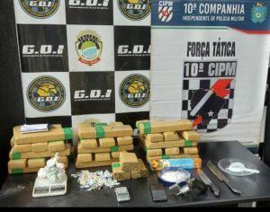 Suspeitos são presos com 36 tabletes de maconha e um revólver em Campo Grande